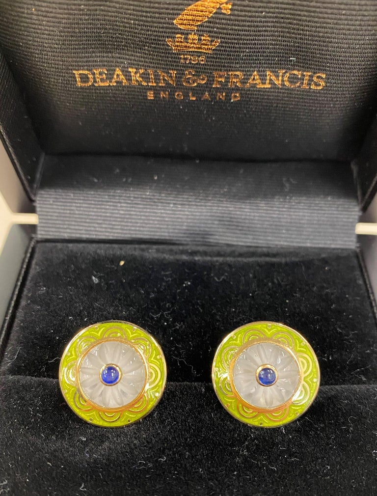 Contemporary Deakin & Francis 18kt Gold Cufflinks with Crystal and Sapphire Centre and Enamel For Sale