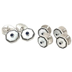 Deakin &Francis 18kt WG Mother of Pearl, Blue Sapphire 6 Pc Cuff Link & Stud Set