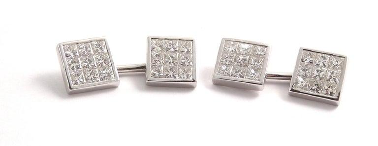 Contemporary Deakin & Francis 18 Karat White Gold Pave Set Diamond Cufflinks For Sale