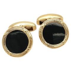 Deakin & Francis 18kt Yellow Gold & Black Onyx Cufflinks