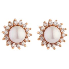 Deakin & Francis 18Kt Yellow Gold Diamond and Cultured Pearl Cluster Earrings