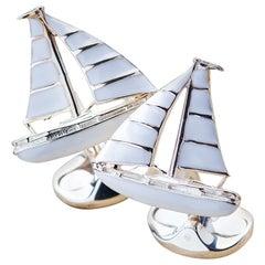 Deakin & Francis 1st Dibs Exclusive Sterling Silver White Enamel Yacht Cufflinks