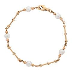 Deakin & Francis 9 Karat Gold Cultured Pearl Dumbbell Link Bracelet