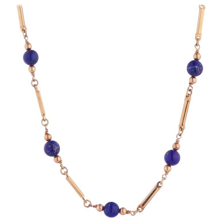 Deakin & Francis 9 Karat Gold Lapis Lazuli Bead Necklace