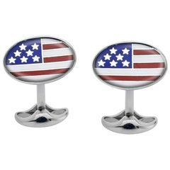 Deakin & Francis American Flag Enamel Sterling Silver Cufflinks