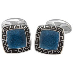Deakin & Francis Bentley Blue and Black Enamel Silver Cufflinks