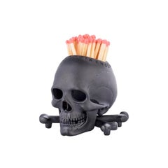Deakin & Francis Black Skull and Cross Bones Vesta/Candleholder