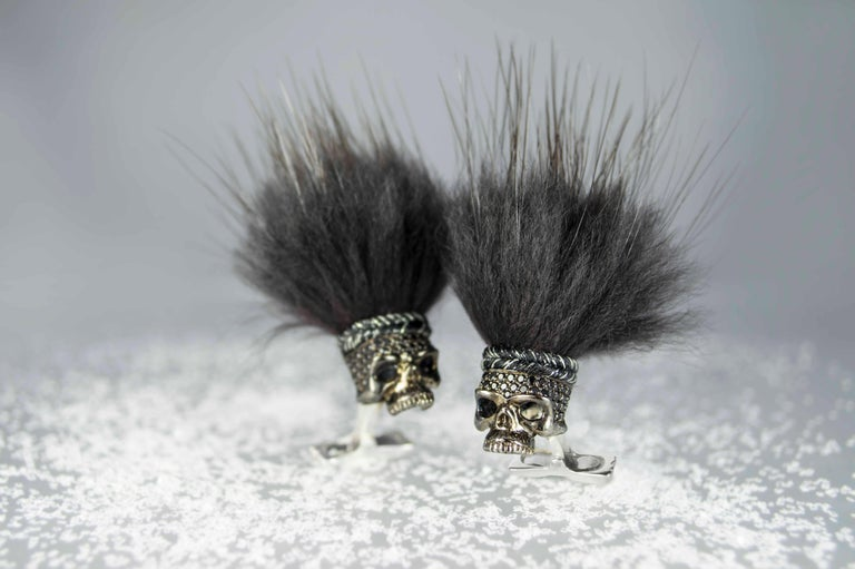 DEAKIN & FRANCIS, PICCADILLY ARCADE, LONDON.  Mysterious, bold and dazzling – these deep, dark cufflinks are not for the fainthearted! Designed to astonish, these savage skull head cufflinks are made from sterling silver and encrusted with stunning