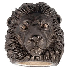 Deakin & Francis Blackened Silver Diamond Large Lion Ring