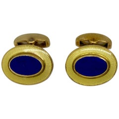 Deakin & Francis Cufflinks in 18 Karat Yellow Gold with Inset Lapis and Enamel