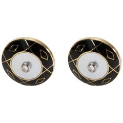 Deakin & Francis Diamond Cufflinks Set in 18 Karat Yellow Gold '0.25 Carat'