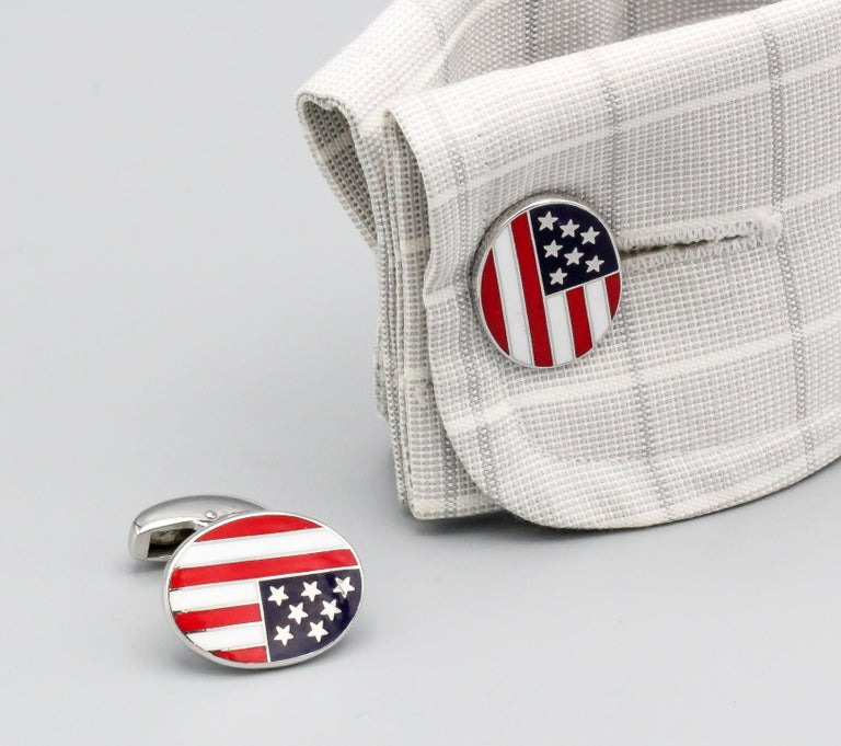 Deakin & Francis Enamel and 18 Karat White Gold American Flag Cufflinks For Sale 2