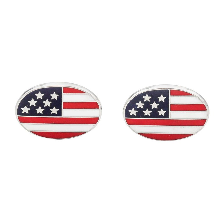 Deakin & Francis Enamel and 18 Karat White Gold American Flag Cufflinks For Sale