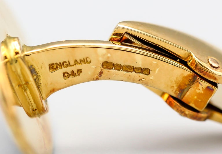Men's Deakin & Francis Enamel and 18 Karat Yellow Gold Stars and Stripes Cufflinks For Sale