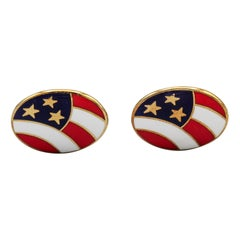 Deakin & Francis Enamel and 18 Karat Yellow Gold Stars and Stripes Cufflinks