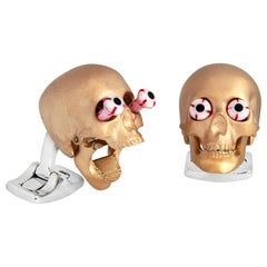 Deakin & Francis Eye Popping Skull Cufflinks in Rose Gold Finish
