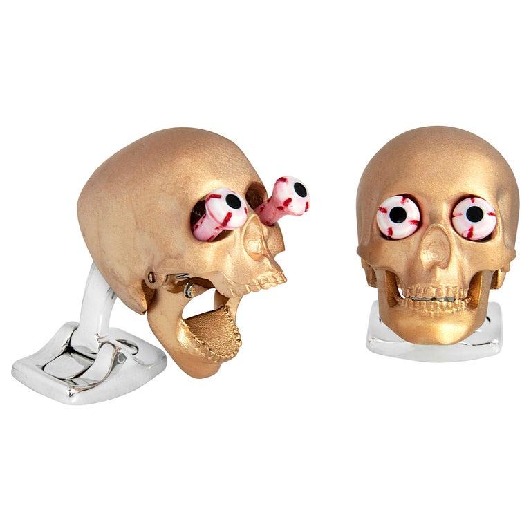 Deakin & Francis Eye Popping Skull Cufflinks in Rose Gold Finish For Sale