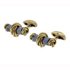 Deakin & Francis Hematite Gold Cufflinks