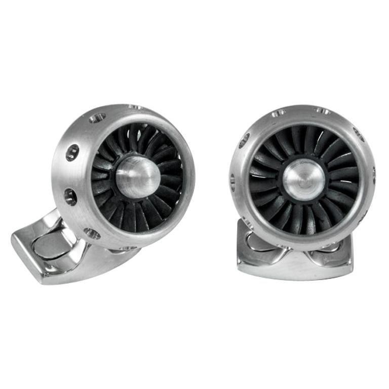 Deakin & Francis Jet Turbine Engine Cufflinks Brushed Aluminium For Sale