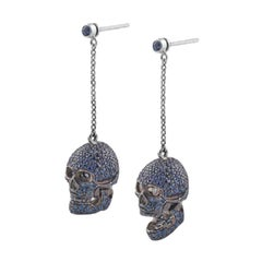 Deakin & Francis Pair of 18 Karat Gold Pave Set Sapphire Skull Earrings