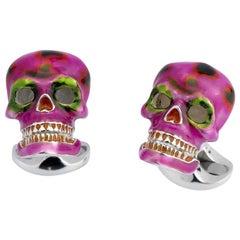Deakin & Francis Pink and Green Enamel Silver Skull Cufflinks