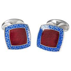 Deakin & Francis Red and Blue Enamel Silver Cufflinks