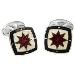 Deakin & Francis Red, Ivory and Black Enamel Star Silver Cufflinks