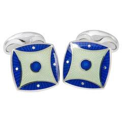 Deakin & Francis Royal Blue and Silver-Blue Enamel Cufflinks