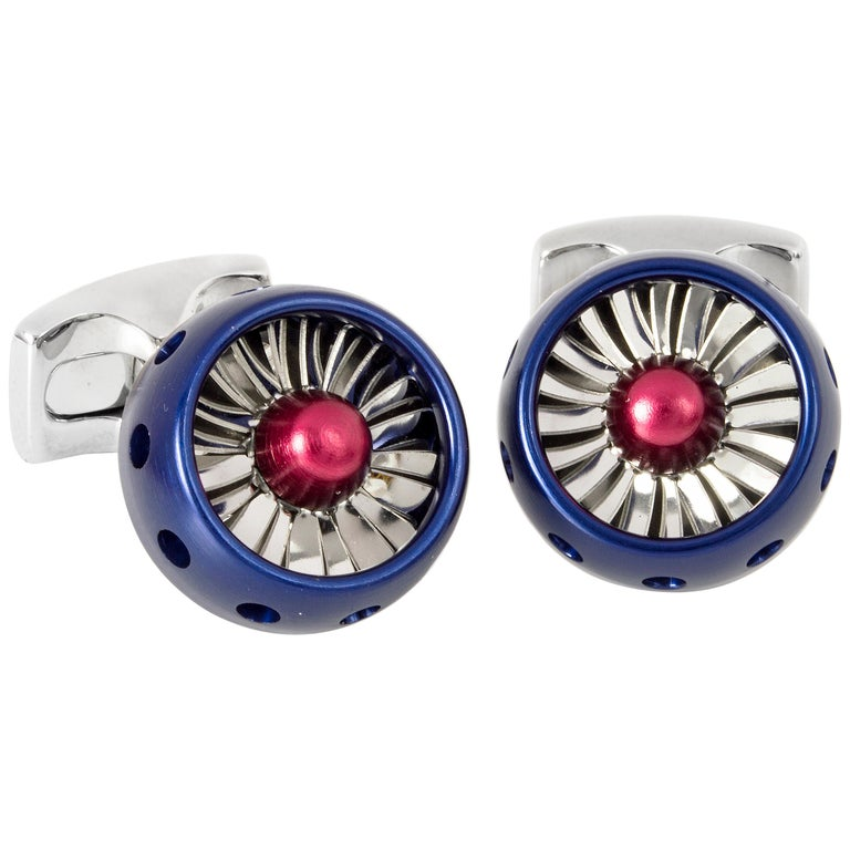 Deakin & Francis Royal Red and Blue Jet Turbine Engine Cufflinks For Sale