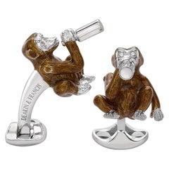 Deakin & Francis Silver and Brown Enamel Drinking Monkey Cufflinks