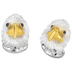 Deakin & Francis Silver and Carved Rock Crystal Bald Eagle Cufflinks