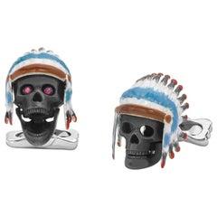 Deakin & Francis Silver and Enamel Native American Skull Cufflinks