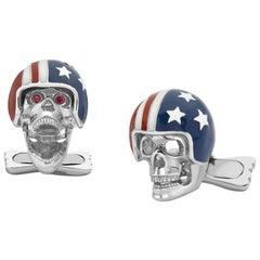Deakin & Francis Silver and Enamel USA Flag Helmet Skull Cufflinks