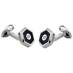 Deakin & Francis Silver Black Onyx and Diamond Cufflinks