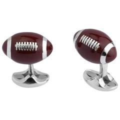 Deakin & Francis Silver Football Cufflinks