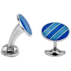 Deakin & Francis Silver Light and Dark Blue Enamel Striped Cufflinks