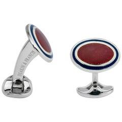 Deakin & Francis Silver Reddish-Pink and Navy Blue Enamel Oval Cufflinks