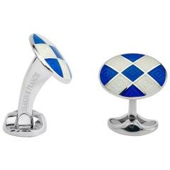 Deakin & Francis Silver Royal Blue and White Enamel Harlequin Cufflinks