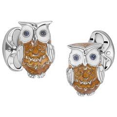 Deakin & Francis Silver Sapphire Enamel Owl Cufflinks