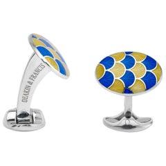 Deakin & Francis Silver Yellow and Royal Blue Enamel Wave Cufflinks