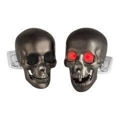 Deakin & Francis Skull Cufflinks with LED Eyes in Matte Black