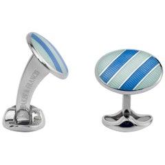 Deakin & Francis Sky Blue and Pale Bluish-Silver Enamel Striped Cufflinks
