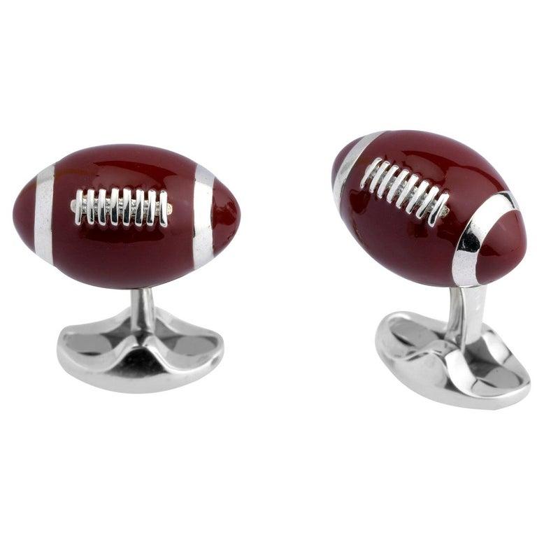 Deakin & Francis Sterling Silver American Football Cufflinks For Sale