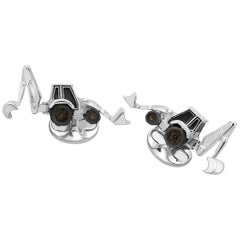 Deakin & Francis Sterling Silver and Enamel Digger Cufflinks