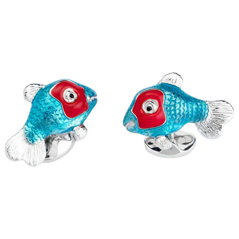 Deakin & Francis Sterling Silver Blue and Red Enamel Tropical Fish Cufflinks For Sale