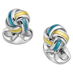 Deakin & Francis Sterling Silver Blue and Yellow Enamel Knot Cufflinks