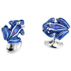 Deakin & Francis Sterling Silver Blue Enamel Frog Cufflinks