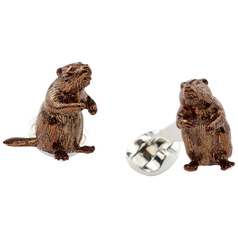 Deakin & Francis Sterling Silver Brown Enamel Beaver Cufflinks For Sale