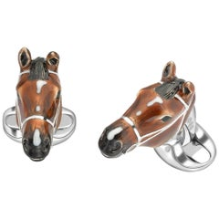 Deakin & Francis Sterling Silver Brown Horse Head Cufflinks