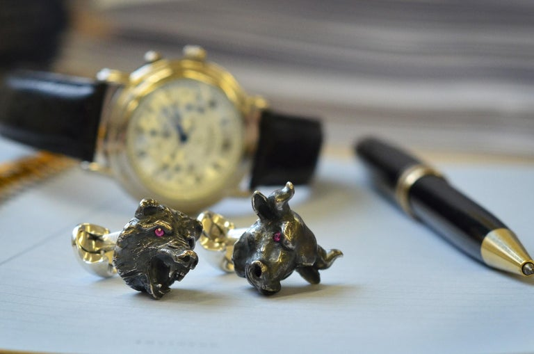 Deakin & Francis Sterling Silver Bull and Bear Cufflinks with Ruby Eyes In New Condition For Sale In Birmingham, West Midlands